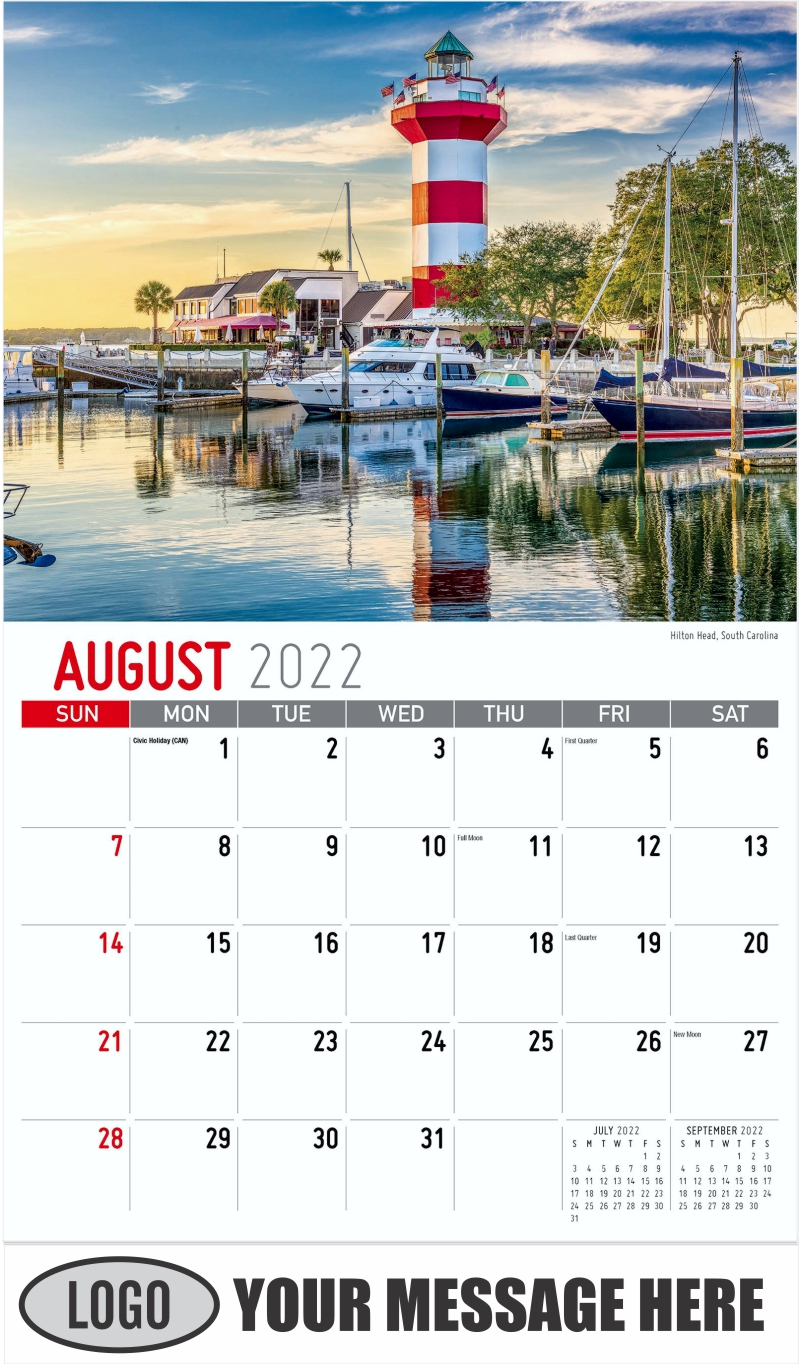 Hilton Head, South Carolina - August - Scenes of Southeast USA 2022 Promotional Calendar