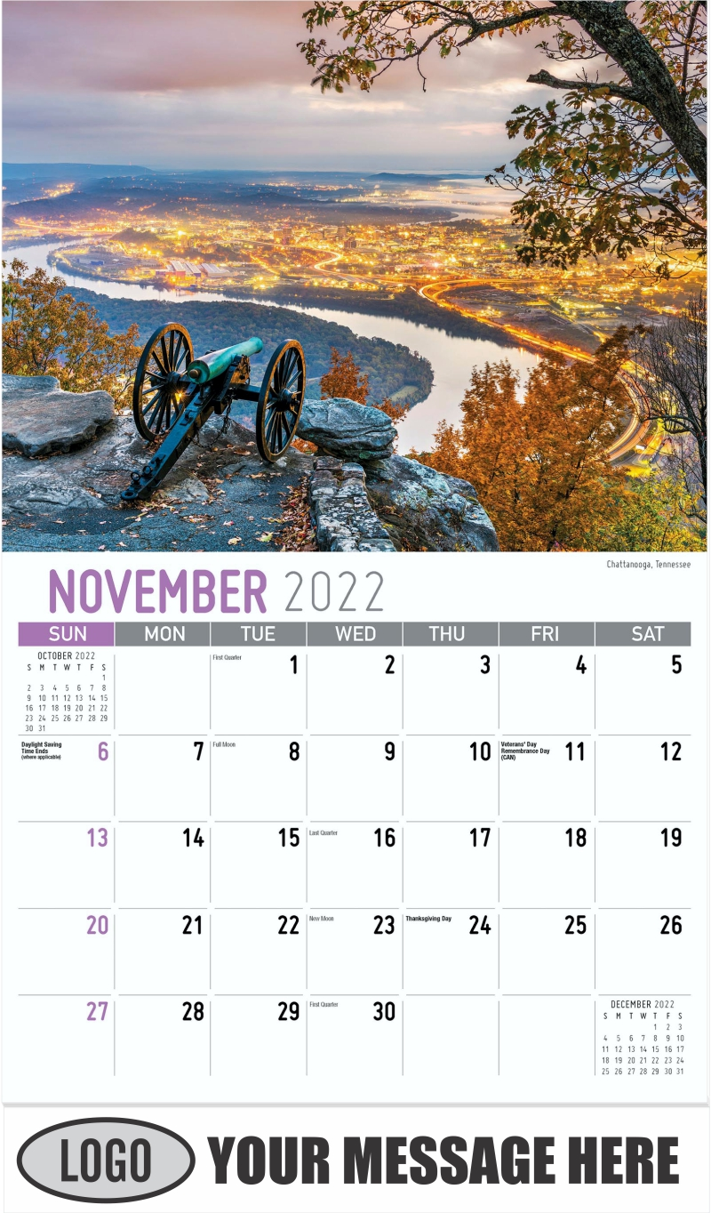 Chattanooga, Tennessee - November - Scenes of Southeast USA 2022 Promotional Calendar