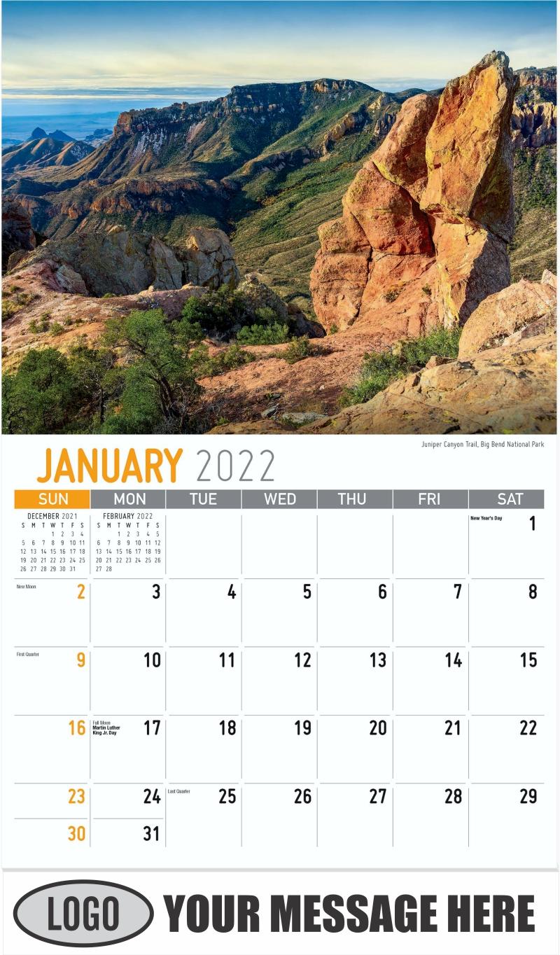 Juniper Canyon Trail, Big Bend National Park - January - Scenes of Texas 2022 Promotional Calendar
