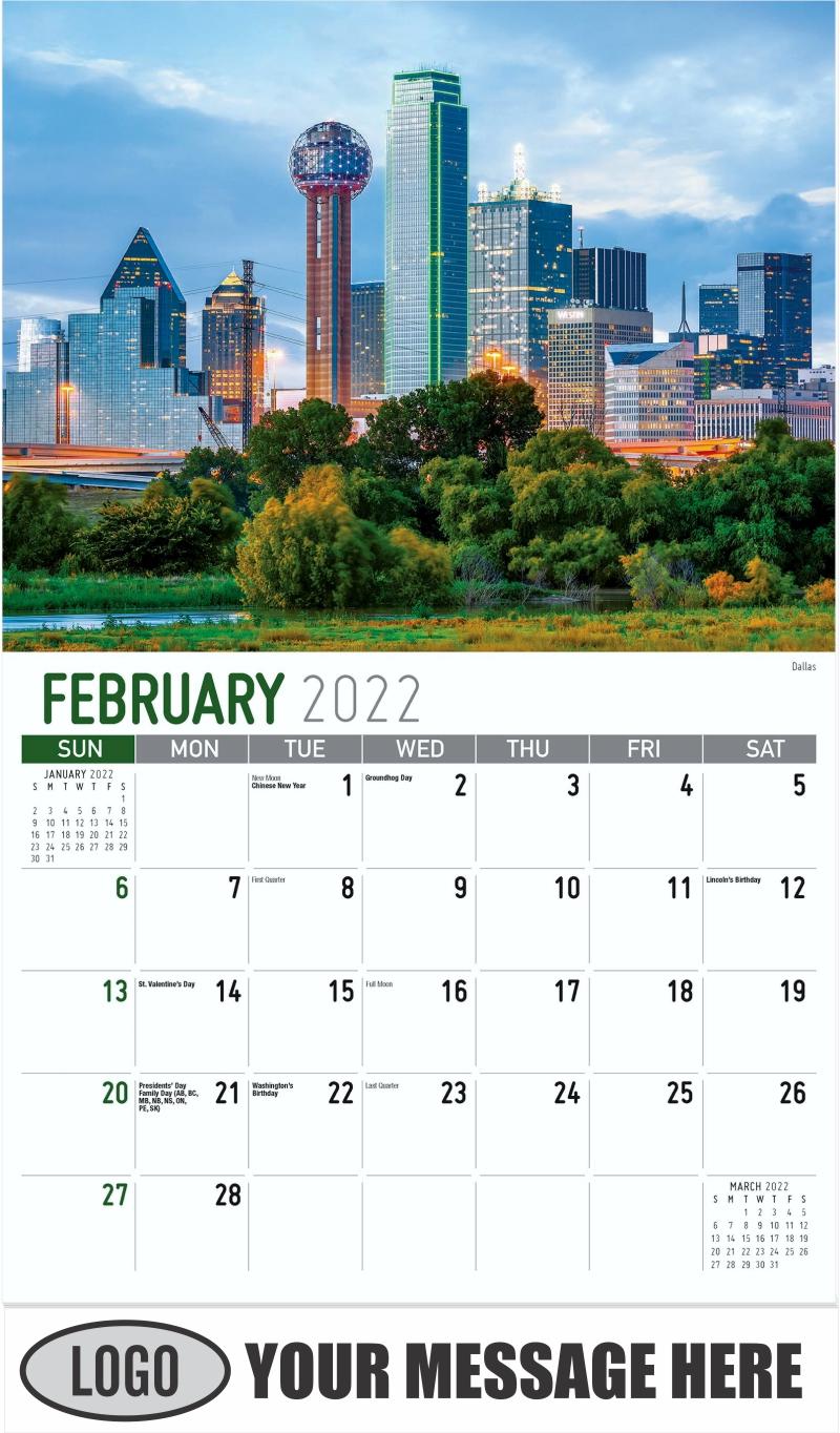 Dallas - February - Scenes of Texas 2022 Promotional Calendar