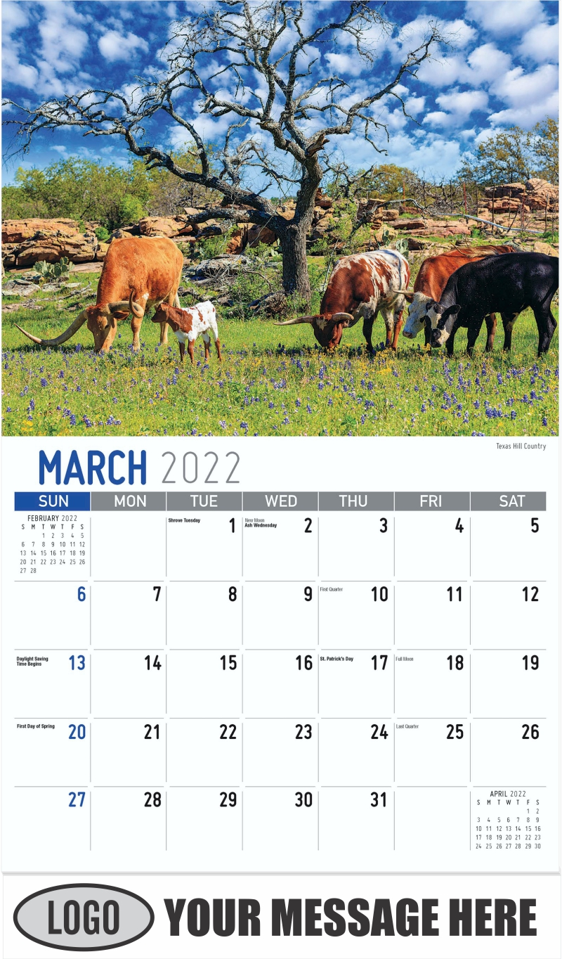 Texas Hill Country - March - Scenes of Texas 2022 Promotional Calendar