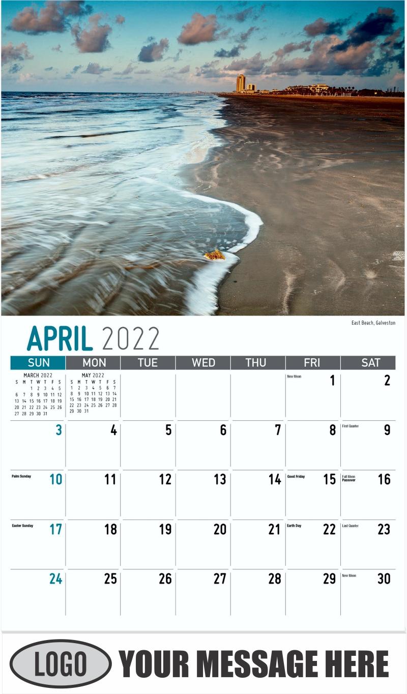 East Beach, Galveston - April - Scenes of Texas 2022 Promotional Calendar