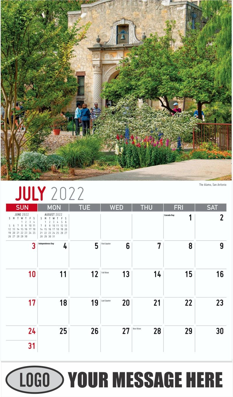 The Alamo, San Antonio - July - Scenes of Texas 2022 Promotional Calendar