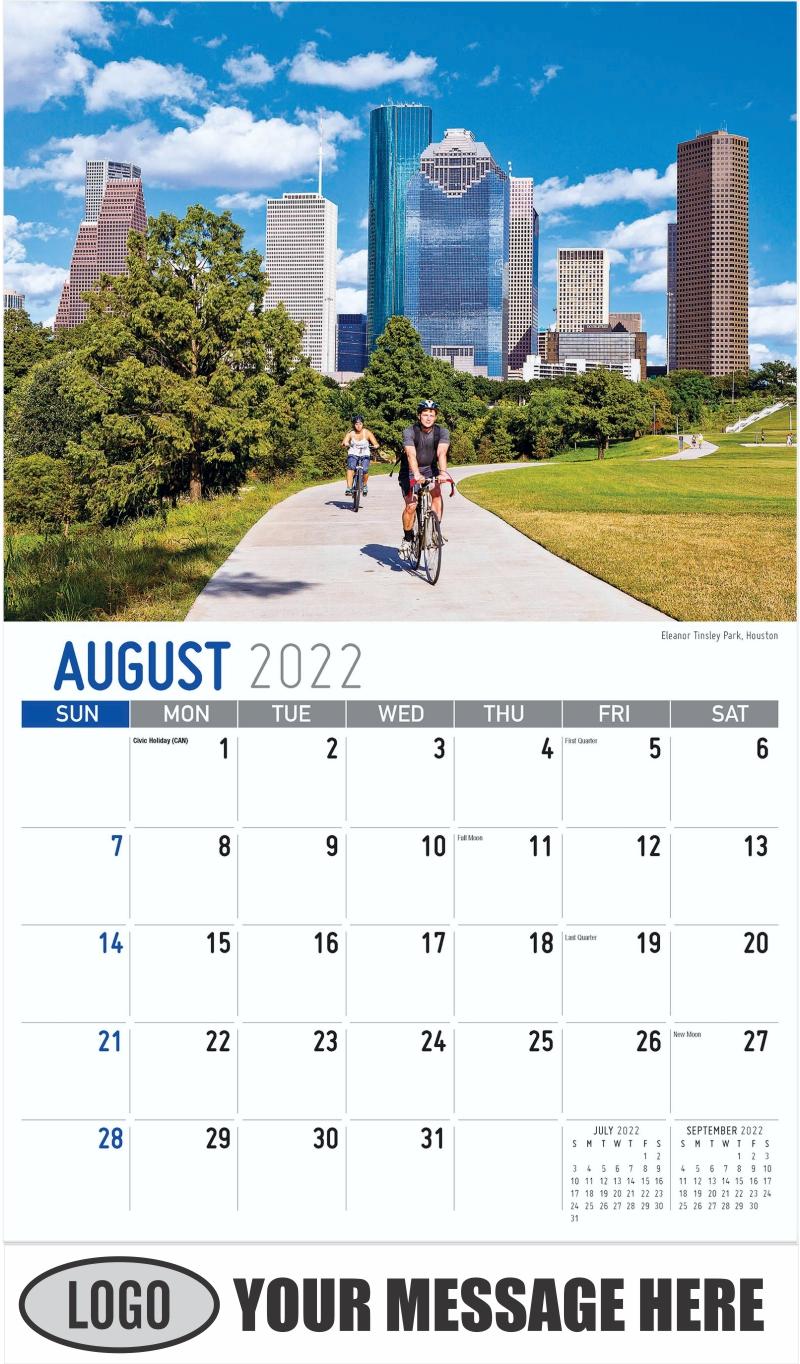 Eleanor Tinsley Park, Houston - August - Scenes of Texas 2022 Promotional Calendar