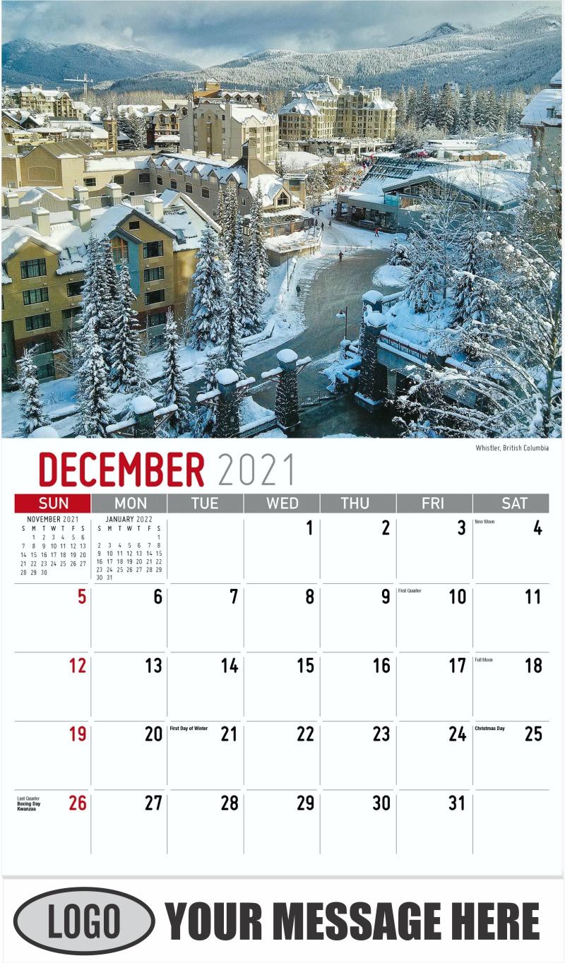 Whistler, British Columbia - December 2021 - Scenes of Western Canada 2022 Promotional Calendar