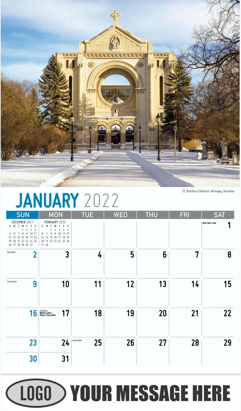 St. Boniface Cathedral, Winnipeg, Manitoba - January - Scenes of Western Canada 2022 Promotional Calendar