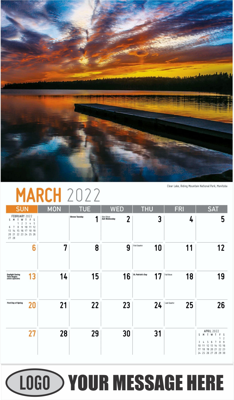 Clear Lake, Riding Mountain National Park, Manitoba - March - Scenes of Western Canada 2022 Promotional Calendar
