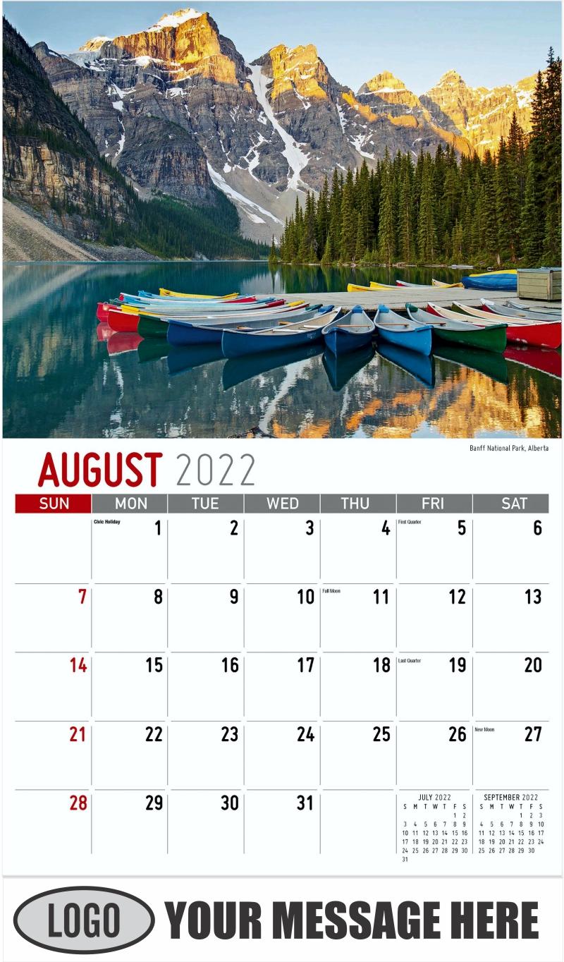 Banff National Park, Alberta - August - Scenes of Western Canada 2022 Promotional Calendar