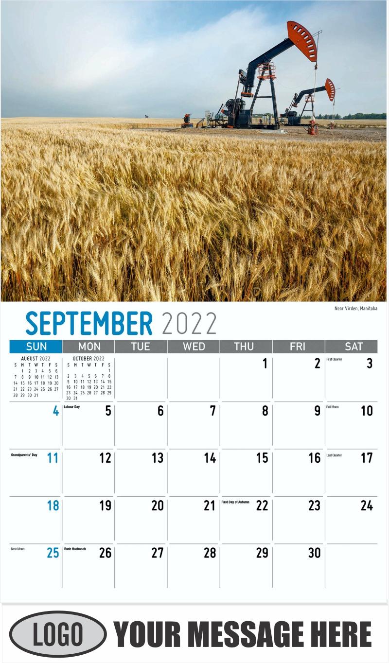 Near Virden, Manitoba - September - Scenes of Western Canada 2022 Promotional Calendar