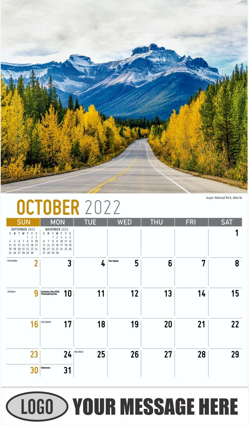 Jasper National Park, Alberta - October - Scenes of Western Canada 2022 Promotional Calendar