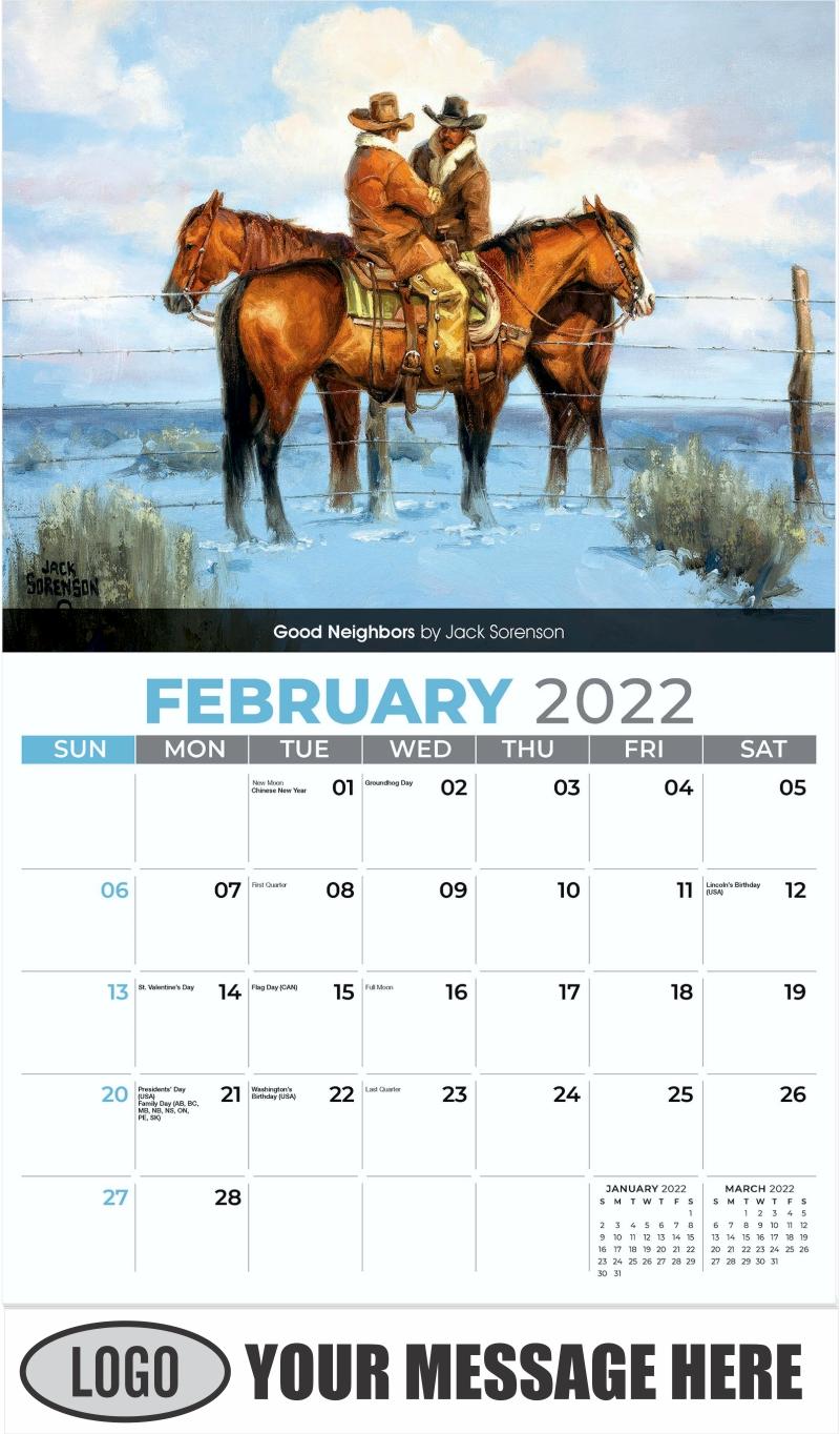 Good Neighbors by Jack Sorenson - February - Spirit of the West 2022 Promotional Calendar