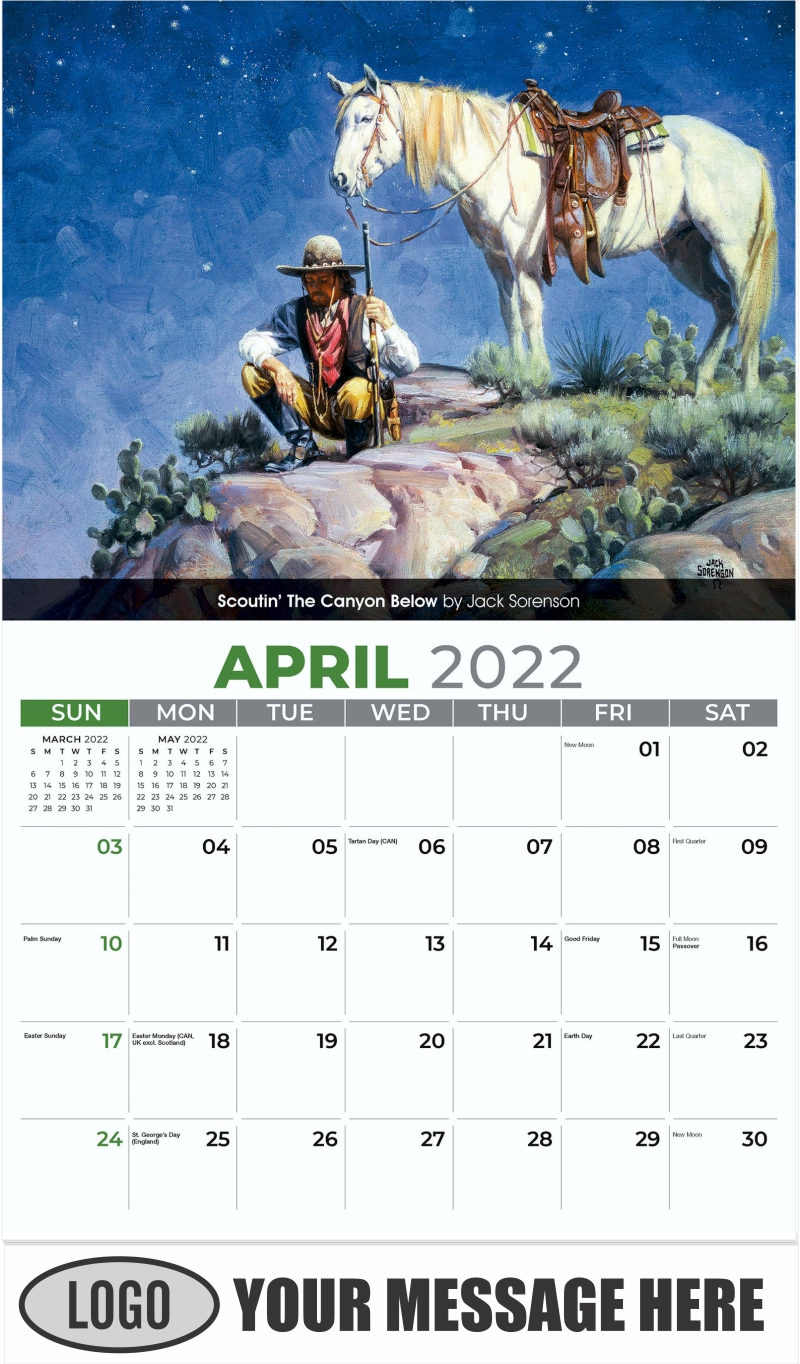 Scoutin' The Canyon Below by Jack Sorenson - April - Spirit of the West 2022 Promotional Calendar