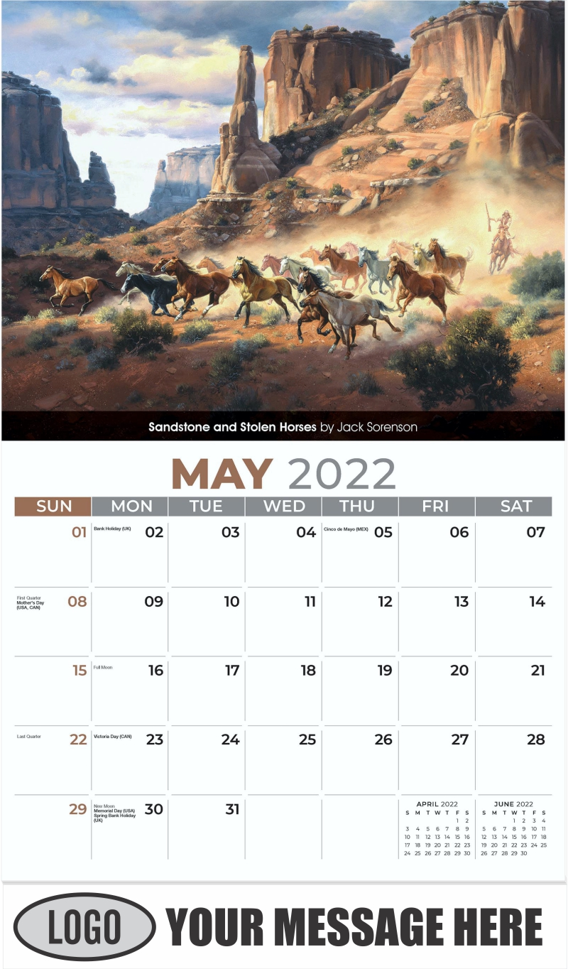 Sandstone and Stolen Horses by Jack Sorenson - May - Spirit of the West 2022 Promotional Calendar