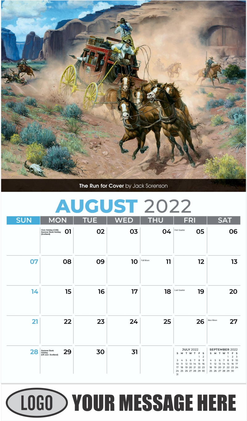 The Run for Cover by Jack Sorenson - August - Spirit of the West 2022 Promotional Calendar