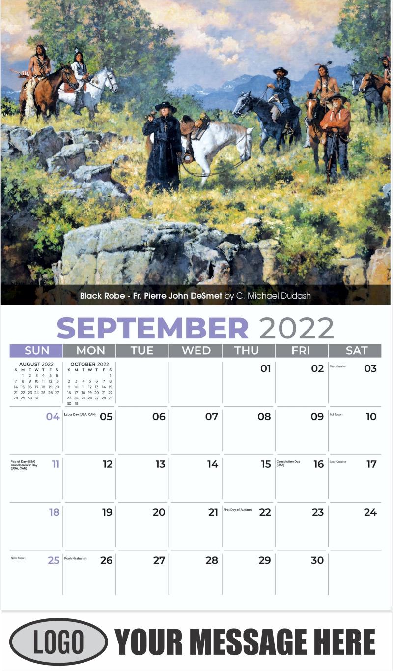 Black Robe - Fr. Pierre John DeSmet by C. Michael Dudash - September - Spirit of the West 2022 Promotional Calendar