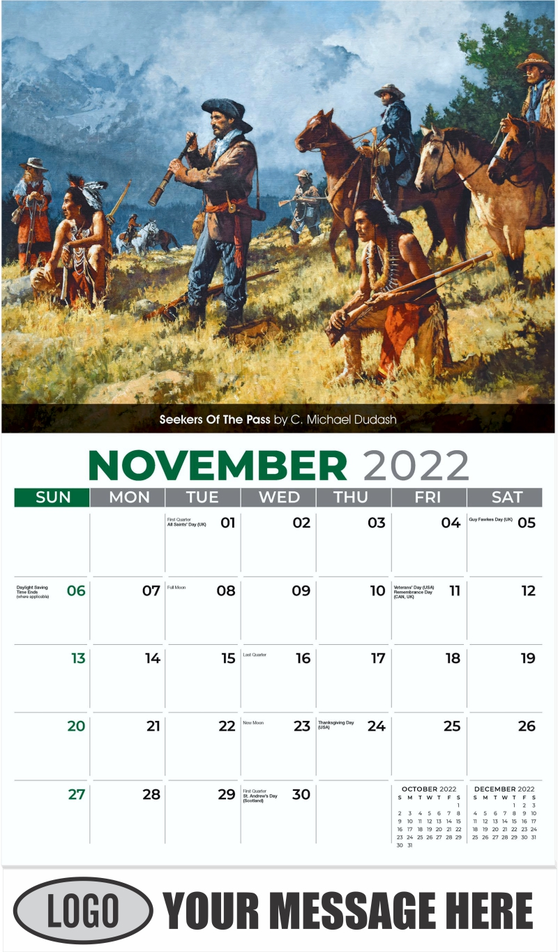 Seekers Of The Pass by C. Michael Dudash - November - Spirit of the West 2022 Promotional Calendar