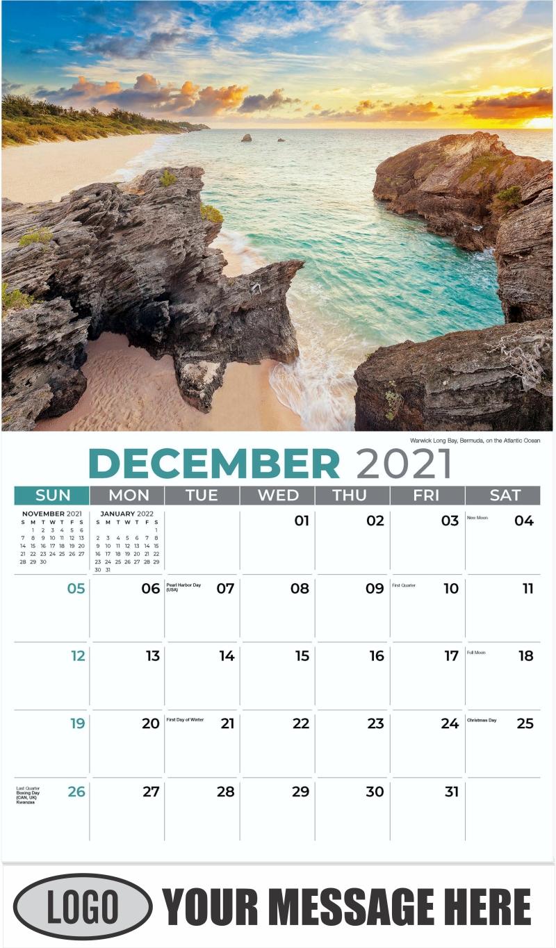 Warwick Long Bay, Bermuda, on the Atlantic Ocean - December 2021 - Sun, Sand and Surf 2022 Promotional Calendar
