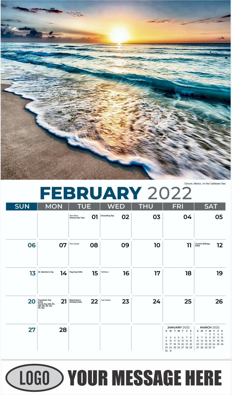 Cancun, Mexico, on the Caribbean Sea - February - Sun, Sand and Surf 2022 Promotional Calendar
