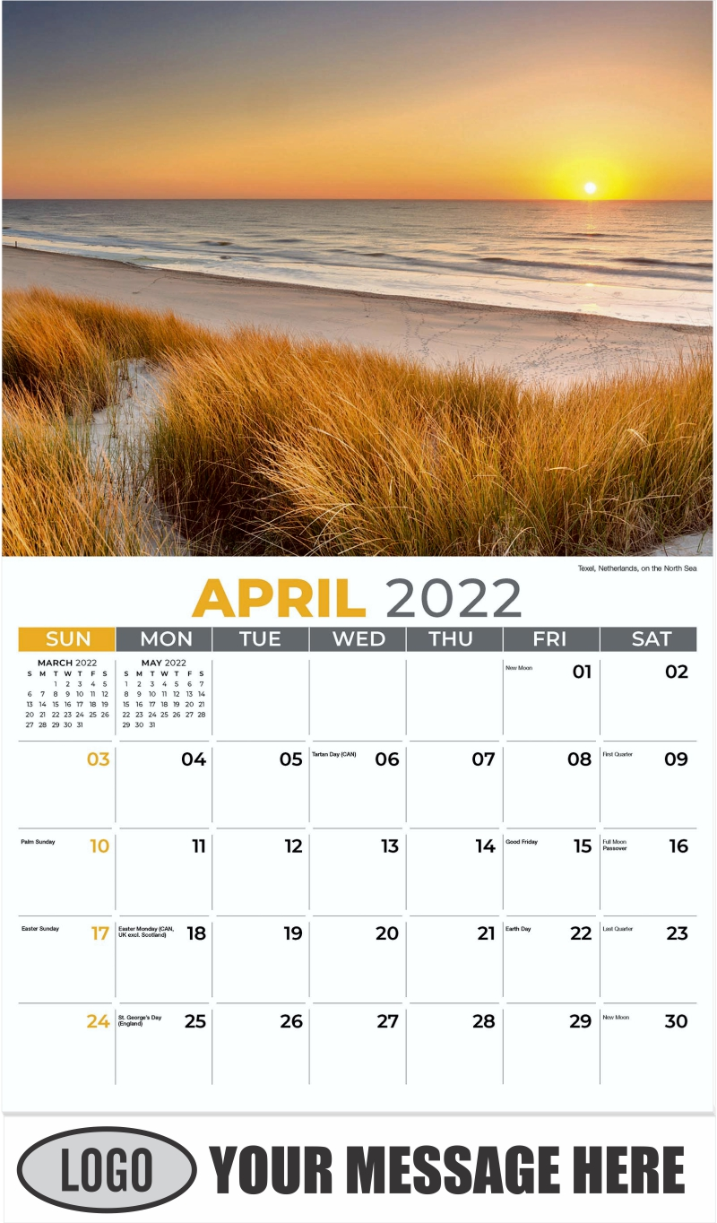 Texel, Netherlands, on the North Sea - April - Sun, Sand and Surf 2022 Promotional Calendar