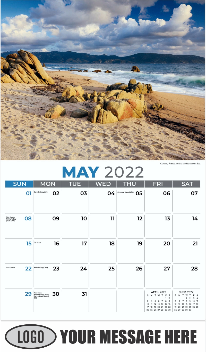 Corsica, France, on the Mediterranean Sea - May - Sun, Sand and Surf 2022 Promotional Calendar