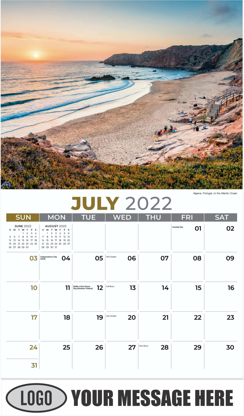 Algarve, Portugal, on the Atlantic Ocean - July - Sun, Sand and Surf 2022 Promotional Calendar