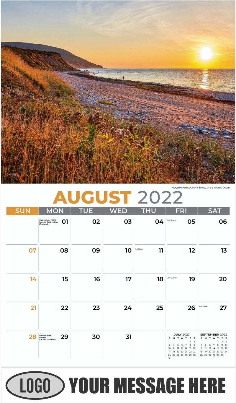 Margaree Harbour, Nova Scotia, on the Atlantic Ocean - August - Sun, Sand and Surf 2022 Promotional Calendar