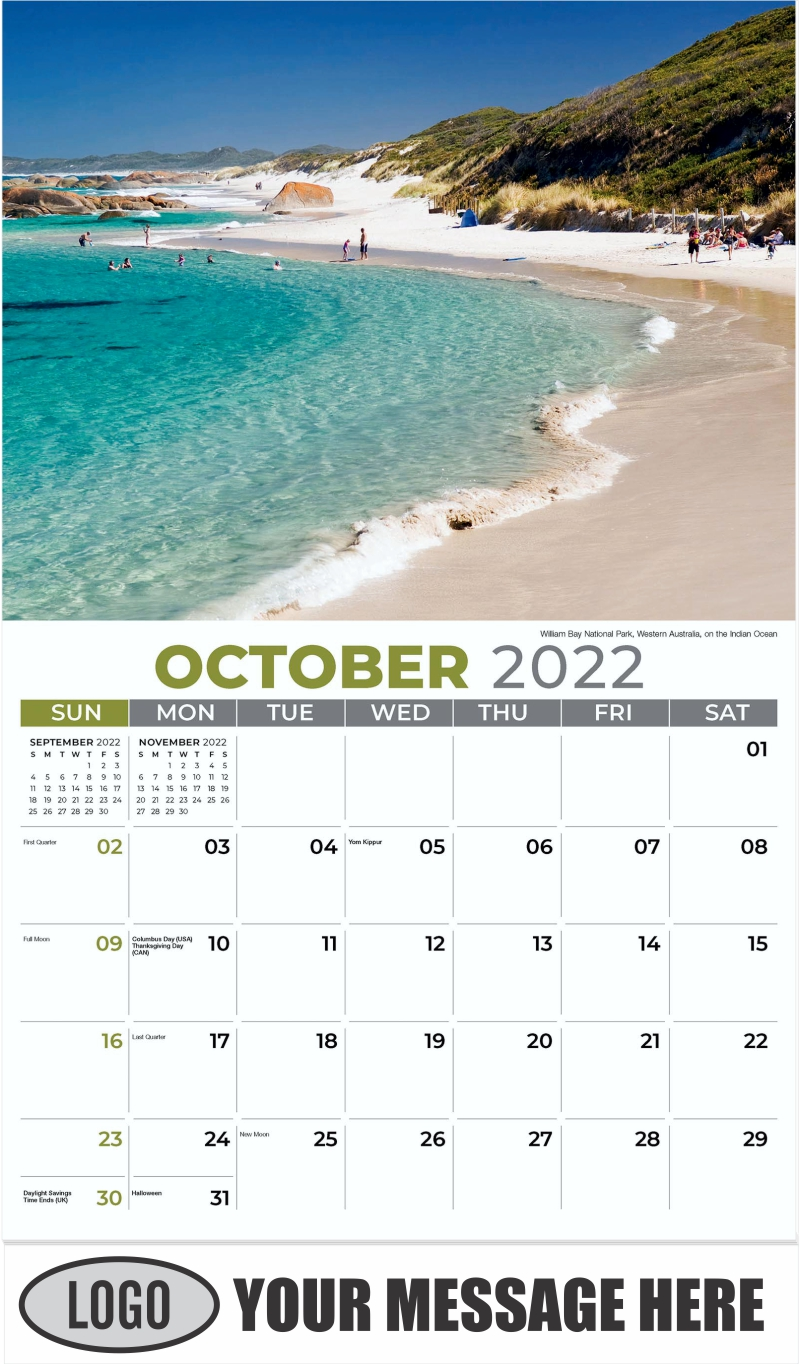 William Bay National Park, Western Australia, on the Indian Ocean - October - Sun, Sand and Surf 2022 Promotional Calendar