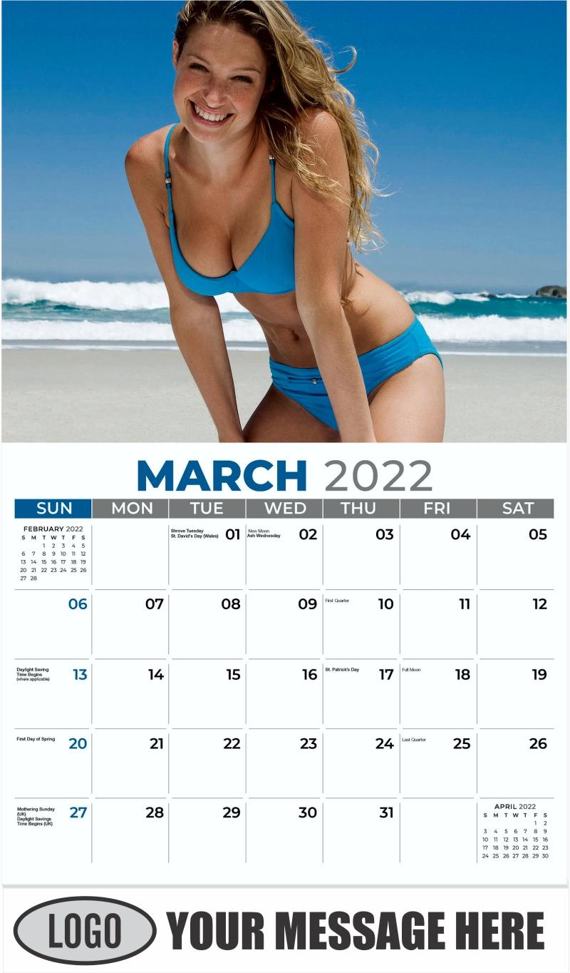 Bikini Models Calendar - March - Swimsuits 2022 Promotional Calendar