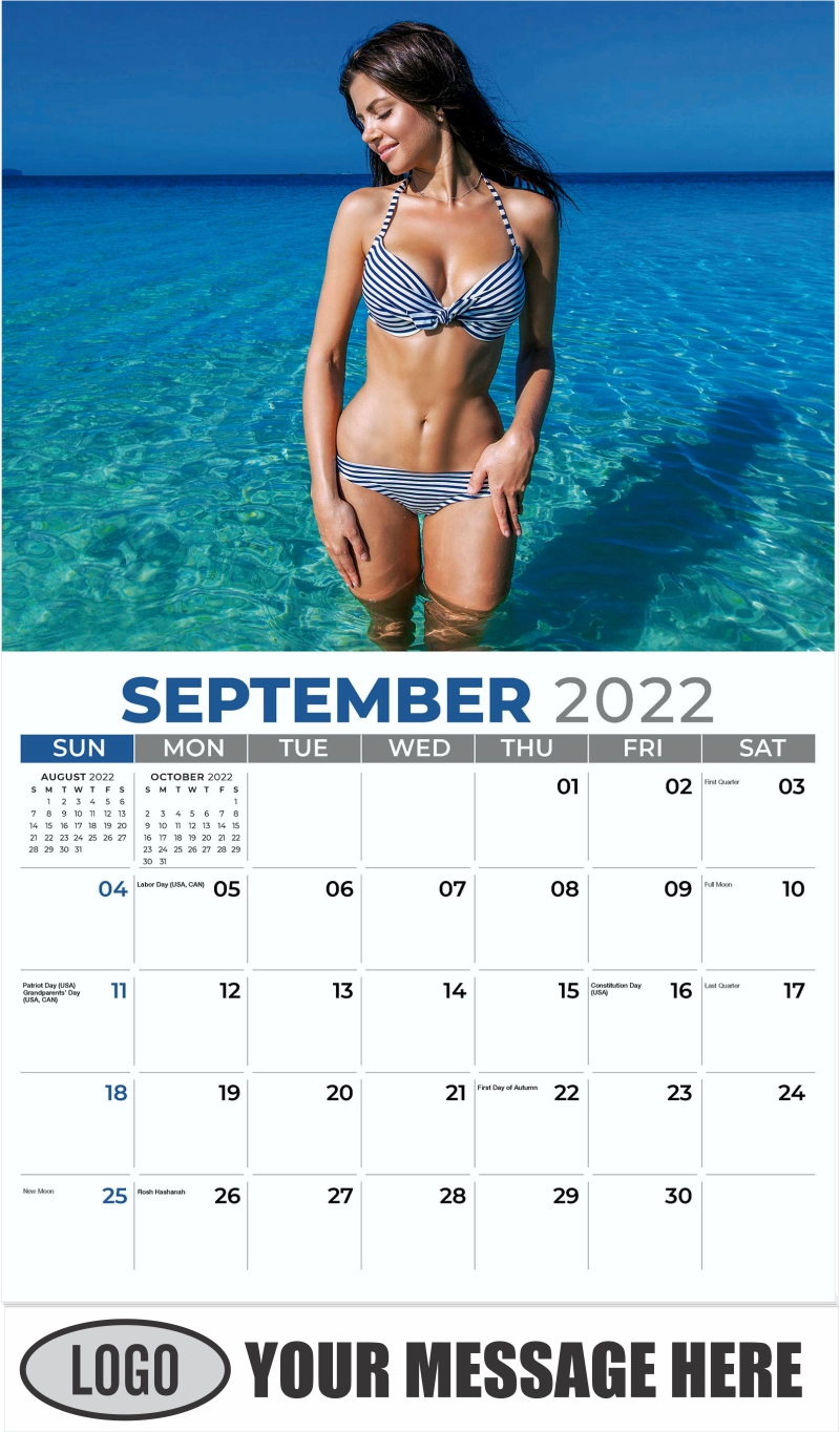 Bikini Models Calendar - September - Swimsuits 2022 Promotional Calendar