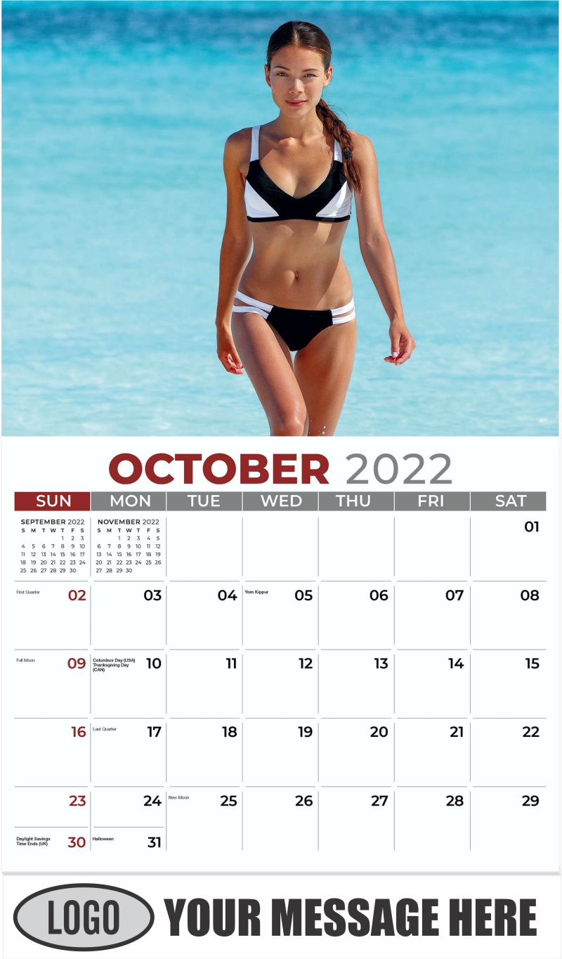 Bikini Models Calendar - October - Swimsuits 2022 Promotional Calendar