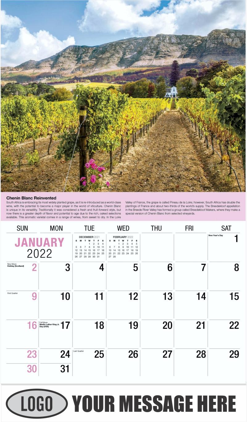 Wine Tips Calendar - January - Vintages 2022 Promotional Calendar