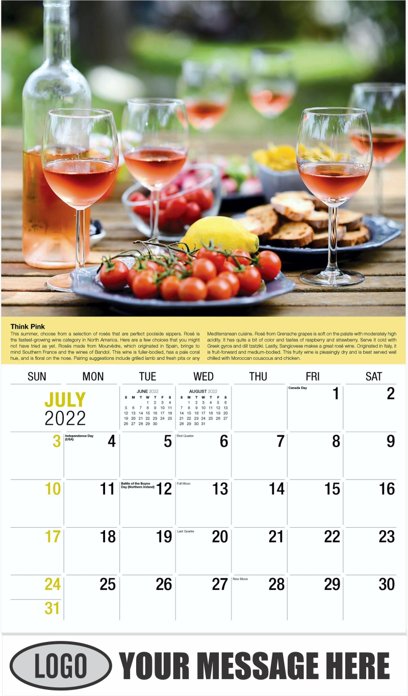 Wine Tips Calendar - July - Vintages 2022 Promotional Calendar