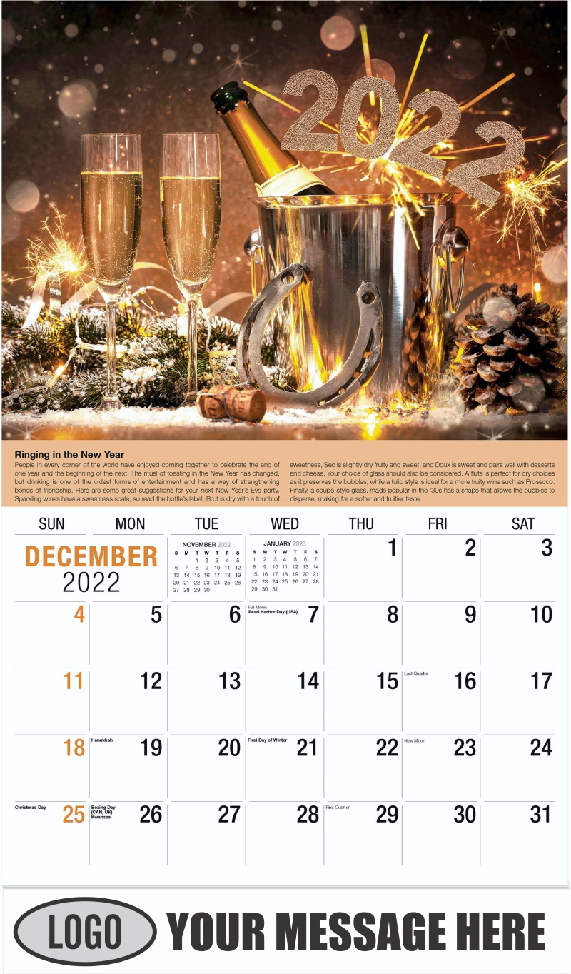 Wine Tips Calendar - December 2022 - Vintages 2022 Promotional Calendar