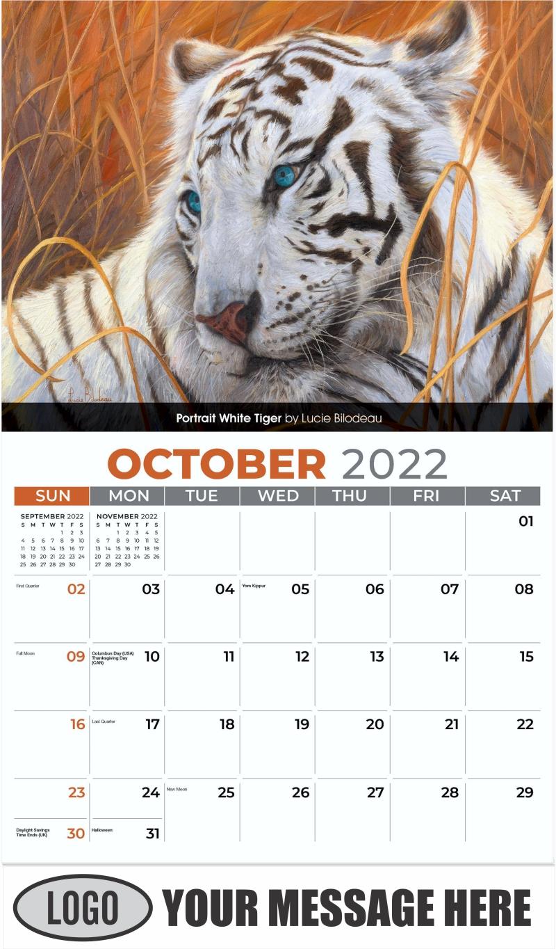 Portrait White Tiger by Lucie Bilodeau - October - Wildlife Portraits 2022 Promotional Calendar
