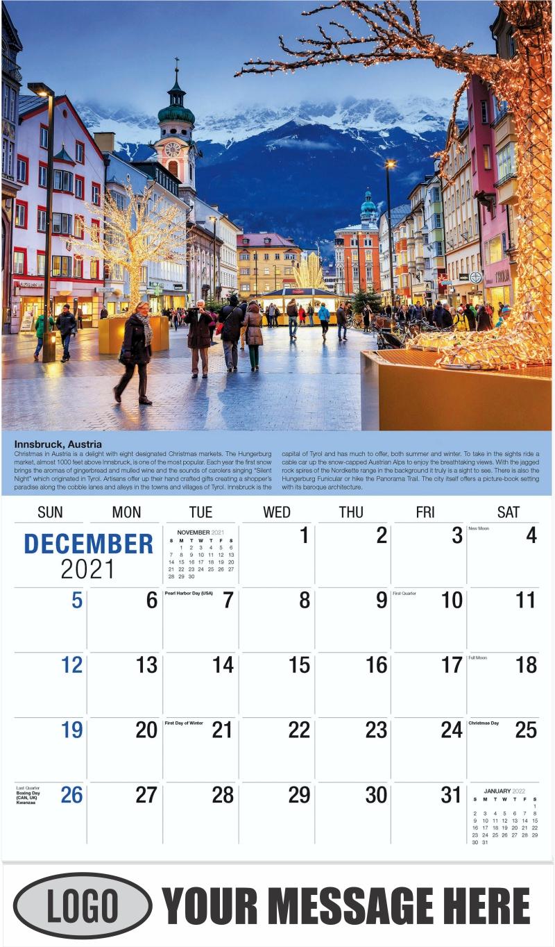 Tyrol, Austria - December 2021 - World Travel 2022 Promotional Calendar
