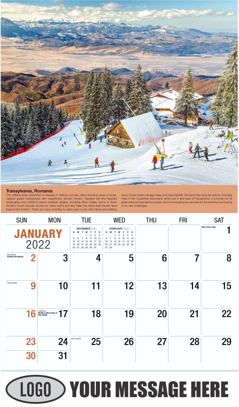 Romania, Europe - January - World Travel 2022 Promotional Calendar