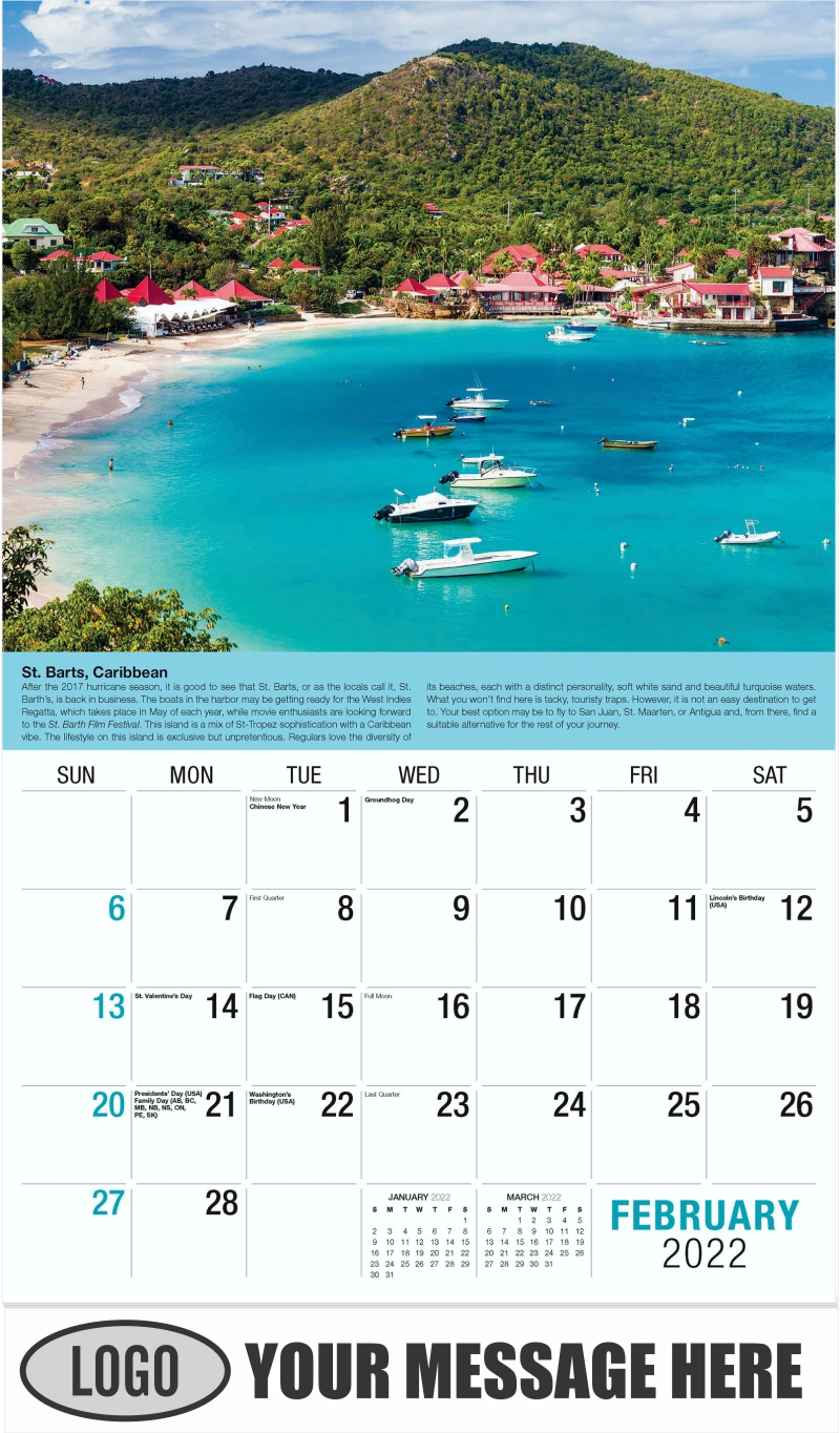 St-Barthelemy Island - February - World Travel 2022 Promotional Calendar