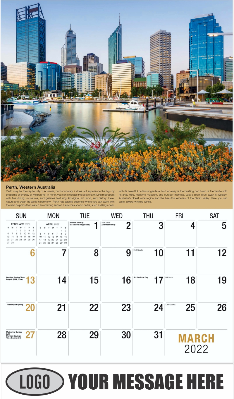 Perth, Australia - March - World Travel 2022 Promotional Calendar