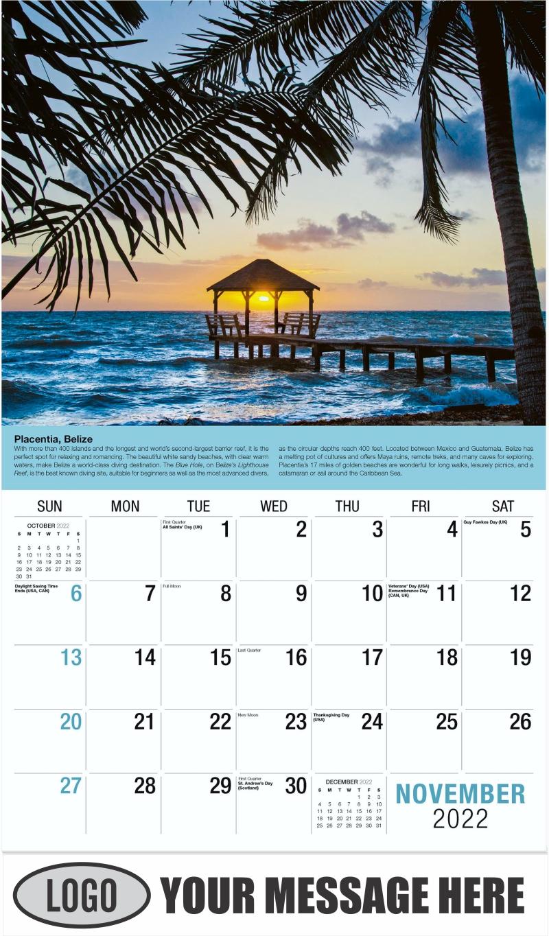 Belize - November - World Travel 2022 Promotional Calendar