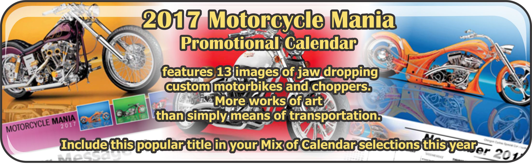 Promotional Calendars Direct featured Wall Calendar for Motorcycle Mania
