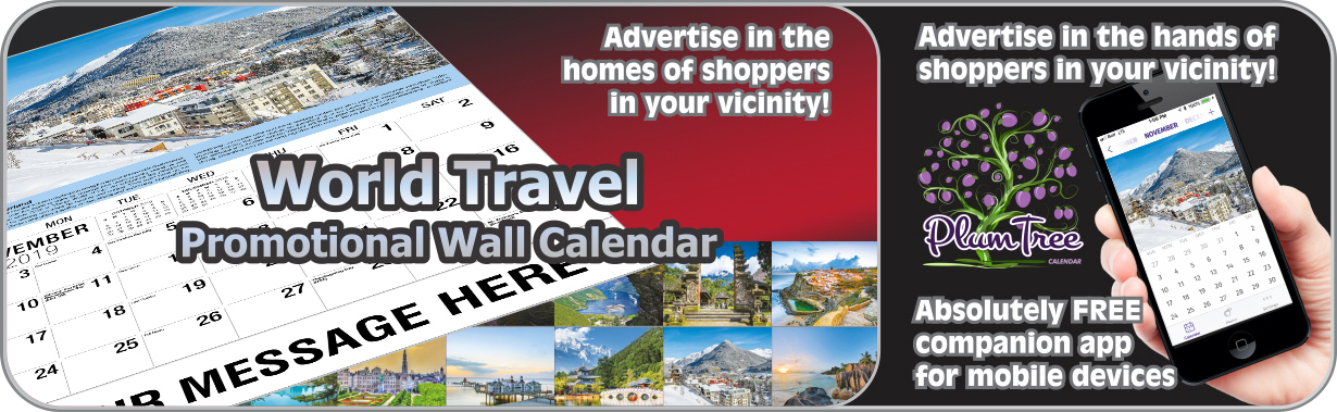 Promotional Calendars Direct featured Wall Calendar for World Travel