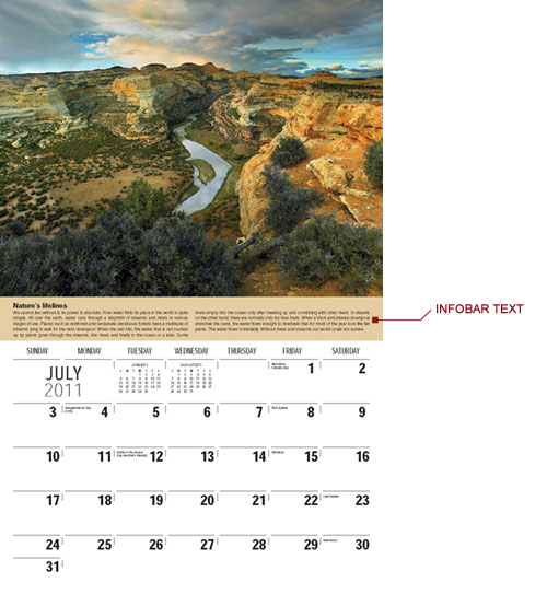 InfoBar sample on a promotional calendar
